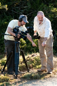 Zach and Johann Lombard filming in Shamwari
